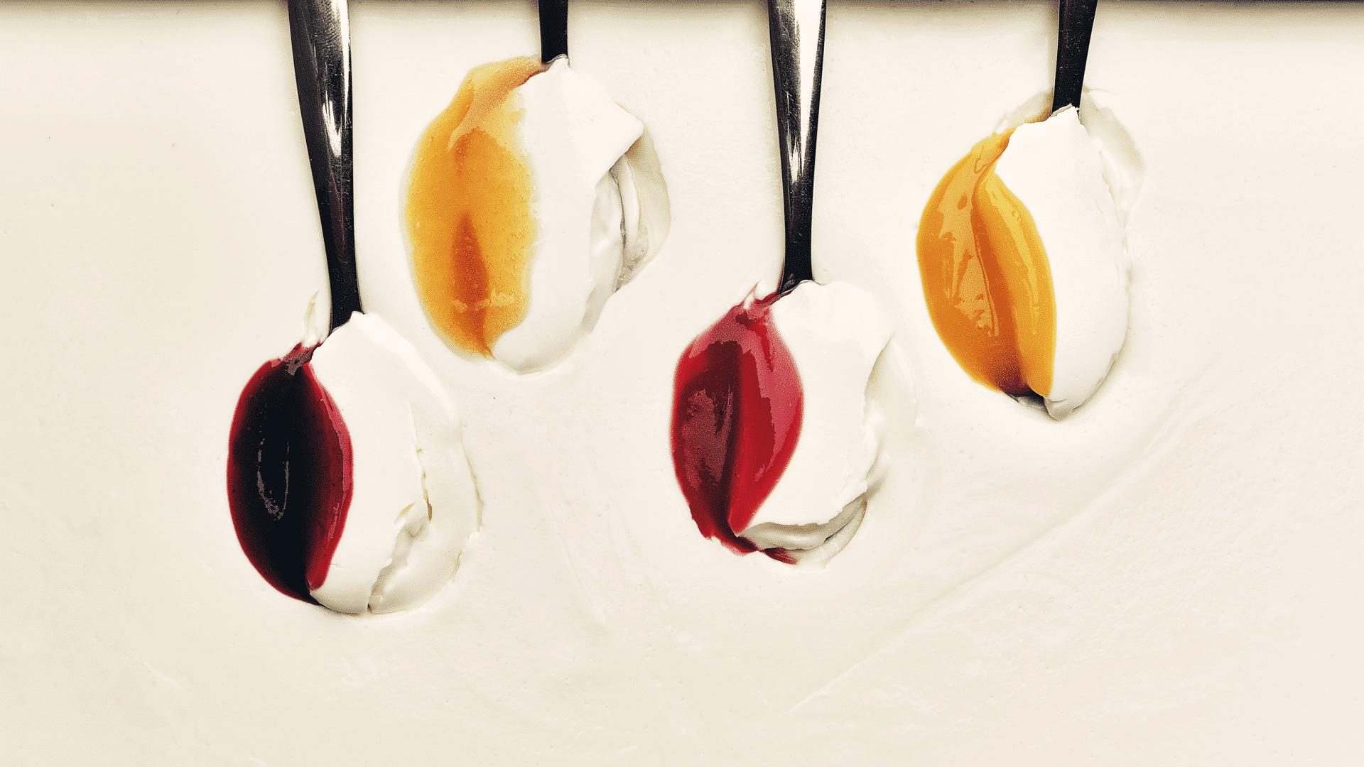 concept coulis absolu panna cotta fruit close up